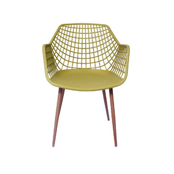 Front View: High back Crosshatch Back Chair in Mustard. Mock Wood Vinyl Covered Steel Legs
