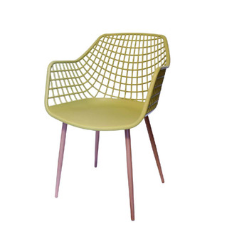 Left Side and Front View: High back Crosshatch Back Chair in Mustard. Mock Wood Vinyl Covered Steel Legs