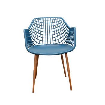 Front View: High back Crosshatch Back Chair in Navy Blue. Mock Wood Vinyl Covered Steel Legs