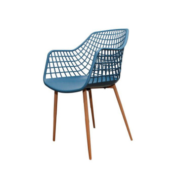 Left Side and Front View: High back Crosshatch Back Chair in Navy Blue. Mock Wood Vinyl Covered Steel Legs
