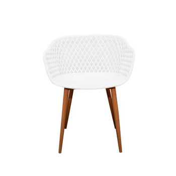 Front View: Diamond Back Chair in White. Mock Wood Vinyl Covered Steel Legs