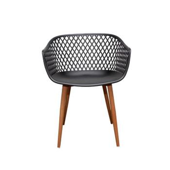 Front View: Diamond Back Chair in Black. Mock Wood Vinyl Covered Steel Legs
