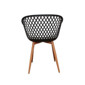 Back view: Diamond Back Chair in Black. Mock Wood Vinyl Covered Steel Legs.