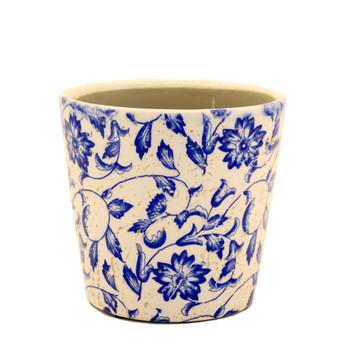 Blue Flower Vine Glazed White Ceramic Pot