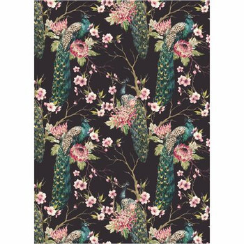 Large PVC Table Cover - Peacock And Floral (3.5x1.55m)