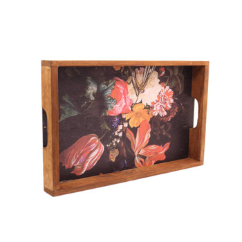 Printed Wooden Serving Tray - Floral 1