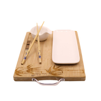 Engraved Bamboo Board with Sushi Dish and Chop Sticks