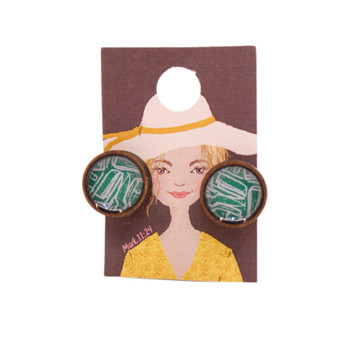 Green With White Abstract Earring