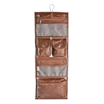 Roll up Toiletry Bag Tobacco Leather
