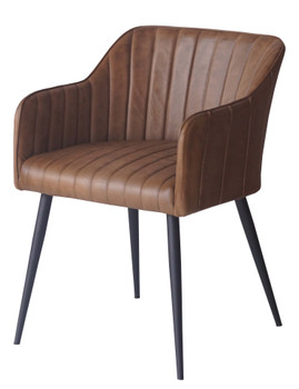 Leather Armchair with Iron Base