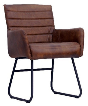 Leather Chair with Iron Base