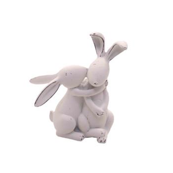 White Ceramic Long Ear Bunny - Hugging (12cm)