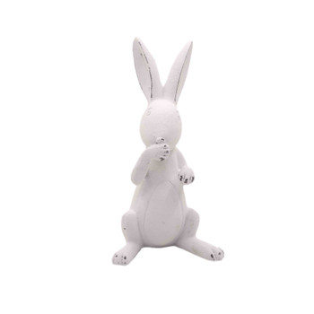 White Ceramic Long Ear Bunny - Sitting & Laughing (12cm)