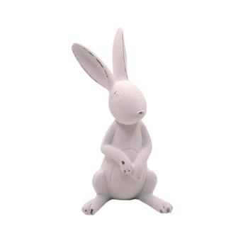White Ceramic Long Ear Bunny - Sitting & Listening (12cm)