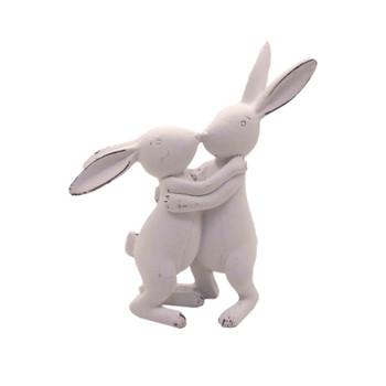 White Ceramic Long Ear Bunnies - Kissing (14cm)