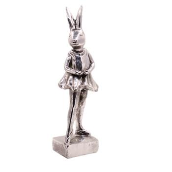 Small Silver Polyresin Bunny - Pointing Ballarina (30cm)