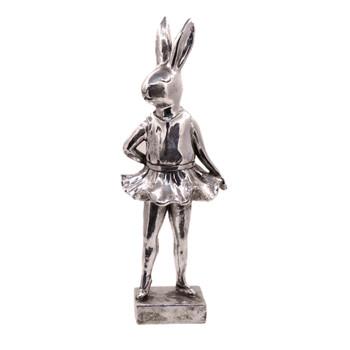 Large Silver Polyresin Bunny - Ballarina Stance (40cm)