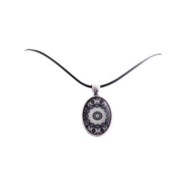 Glass Pendant 2.5cm Nylon Chain 21cm - Navy Mandala