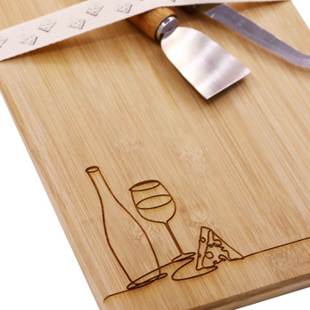 Engraved Bamboo Board Line Drawing - Cheese & Wine