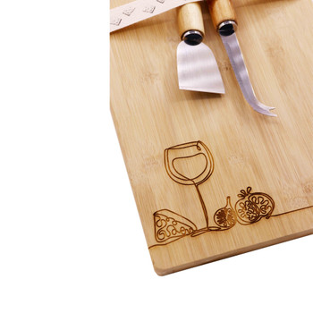 Engraved Bamboo Board Line Drawing - Pomegranate