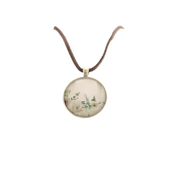 Glass Pendant Round 4cm Grey Leather Chain 38cm - Watercolor Peonies