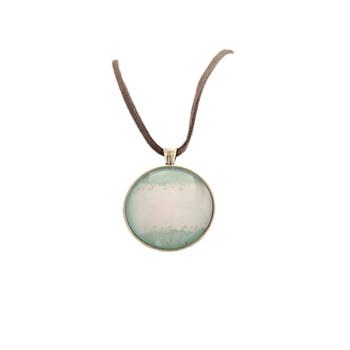 Glass Pendant Round 4cm Grey Leather Chain 38cm - White Seas