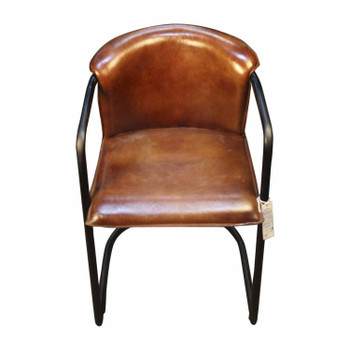 Leather Chair with Iron Frame