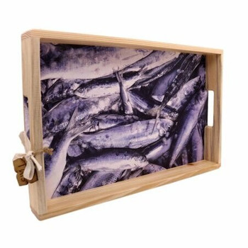 Printed Wooden Serving Tray - Sardines