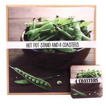 Hot Pot Stand With 4 Coasters - Peas