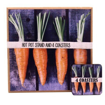 Hot Pot Stand With 4 Coasters - Carrots