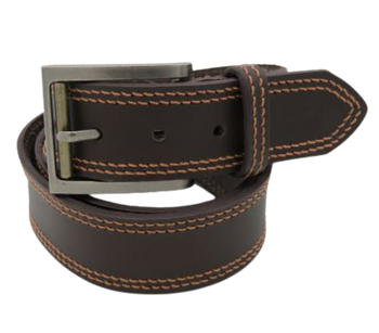 Mens Double-Stitched Brown Leather Belt - 40mm