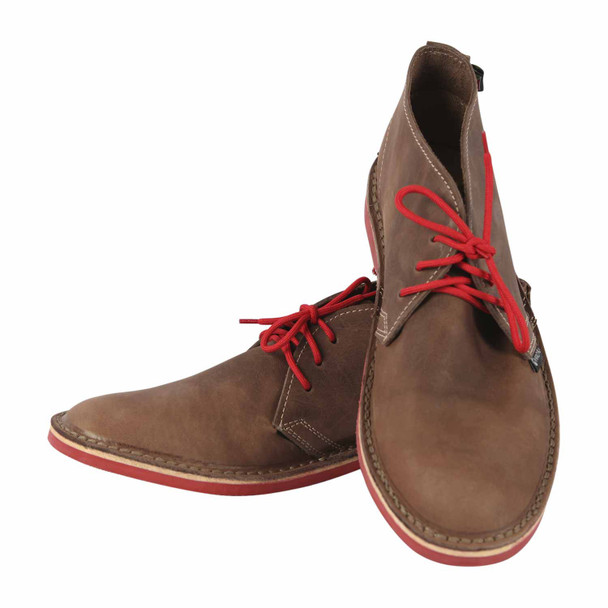 Aviator Brown Leather Vellies - Red Soles/Laces