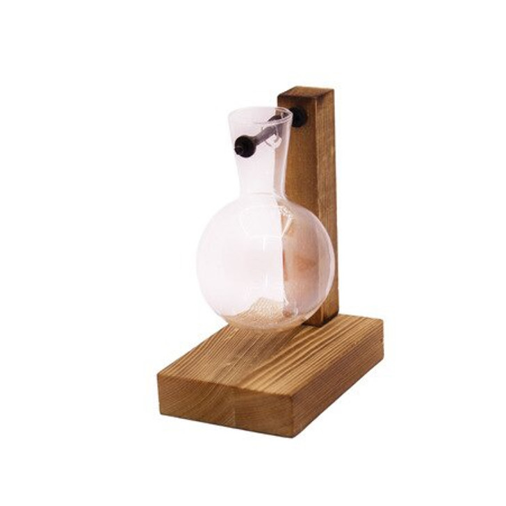 One Glass Vase with Wooden Stand & Iron Rod
