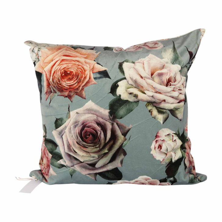 Chenille Cushion - Mint Roses