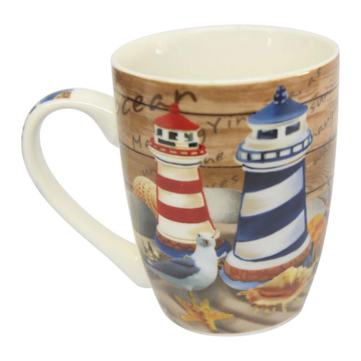 Ceramic Mug - Blue and Red Lighthouses - 350ml