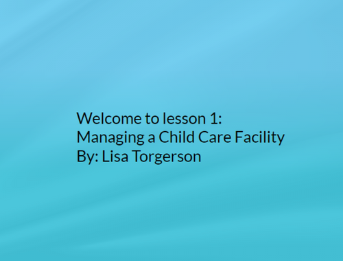 Image for Managing a Child Care Facility