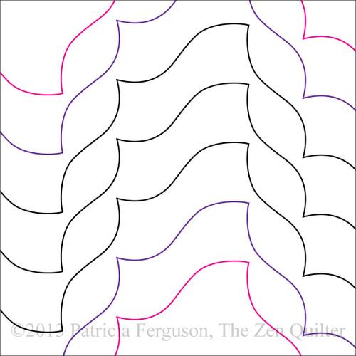 WHALE'S TAIL DIAGONAL | Machine Quilting Design | Digital