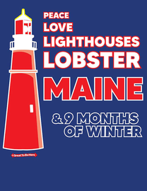 The Maine Peace Love Lighthouses Lobster Women's Fashion T-Shirt