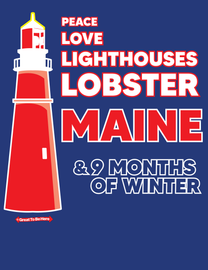 The Maine - Peace, Love, Lighthouses, Lobster Men's/Unisex Fashion T-Shirt