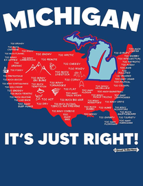 """The Michigan """"It's Just Right"""" USA Map Men's/Unisex Fashion T-Shirt"""