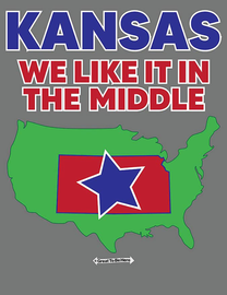 """The Kansas """"We Like It in the Middle"""" Men's/Unisex Fashion T-Shirt"""