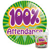 Pack of Green 100% School Attendance Badges - Badge Bucket