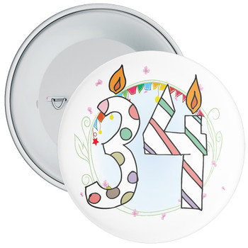 34th Birthday Badge with Candles and Blue Background