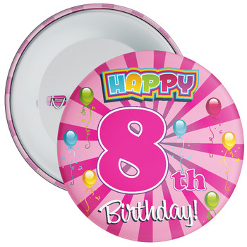 Pink 8th Birthday Badge