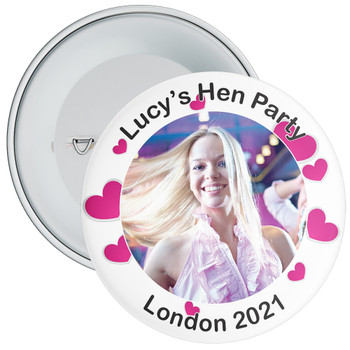 Customisable White with Hearts Hen Party Photo Badge