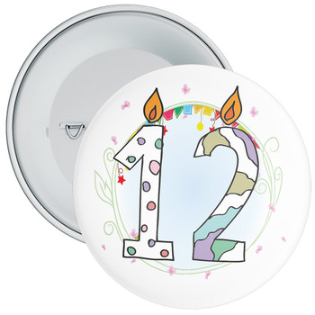 12th Birthday Badge with Candles and Blue Background