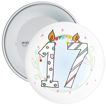 17th Birthday Badge with Candles and Blue Background