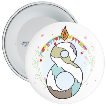 8th Birthday Badge with Candles and Blue Background