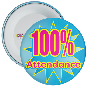School 100% Attendance Badge with Blue Star Background