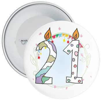 21st Birthday Badge with Candles and Blue Background